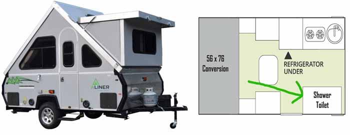Shower inside pop-up camper
