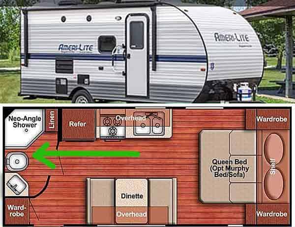 Caravan with toilet